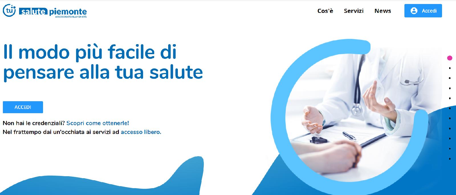 Homepage salute piemonte